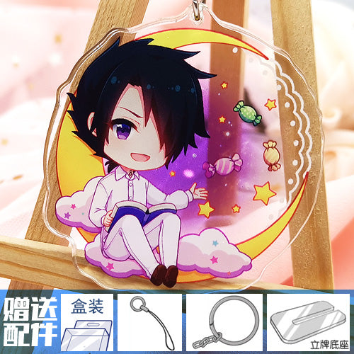 Anime The Promised Neverland Phil Gilda Don Ray Norman Emma Cosplay Prop Key Finder Ring Keychains Could Be Standing Sign