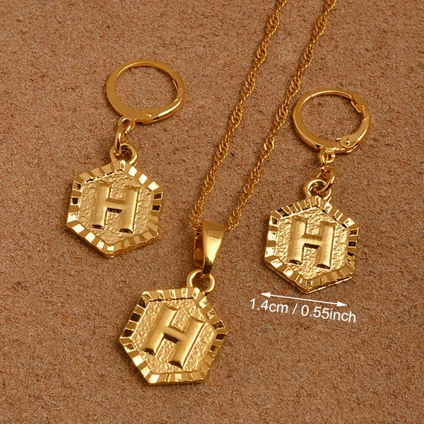 d1b6693a6230 Anniyo A-Z Letters Gold Color Small Pendant Initial Necklace Chains ...