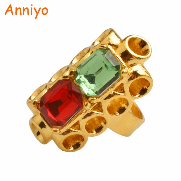 544b4dc7bee55 Anniyo Crystal Stone Resizable Ring For Women Gold Color Wedding Rings  Jewelry Ethiopian African/Arab/Middle East Gift #097806