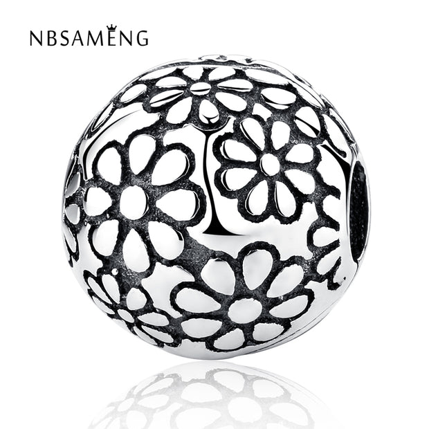 Authentic 100% 925 Sterling Silver Bead Charm Daisy Clip Safety Stopper Beads Fit Pandora Bracelets & Bangles DIY Jewelry Making