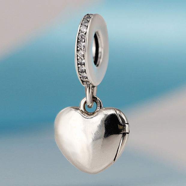 Authentic 925 Sterling Silve Beads I Love My Mum Hanging Crystal Heart Charms Fit Pandora Bracelets & Bangles DIY Jewelry
