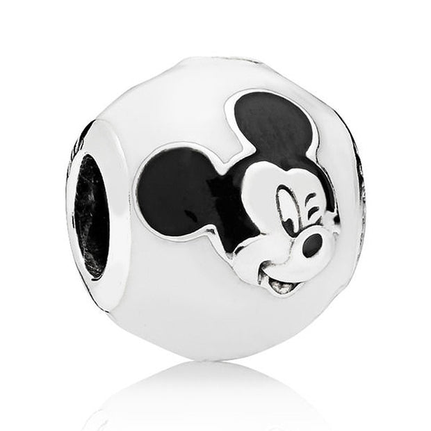 Authentic 925 Sterling Silver Bead Charm Black & White Enamel Mickey Expressions Beads Fit Pandora Bracelet Bangle Diy Jewelry