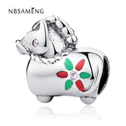 Authentic 925 Sterling Silver Bead Charm Cute Horse With Two Color Glaze Beads Fit Pandora Bracelet & Bangle DIY Jewelry