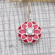Authentic 925 Sterling Silver Bead Charm Enamel Blooming Dahlia With Crystal Pendant Fit Pandora Bracelet Bangle Diy Jewelry