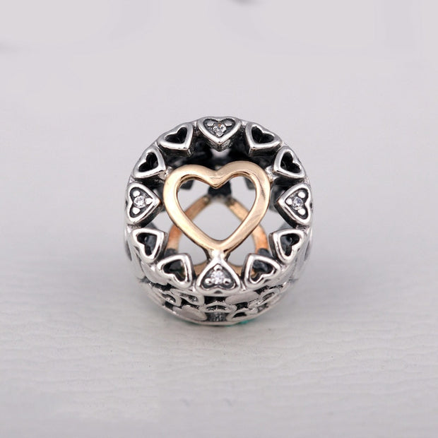 Authentic 925 Sterling Silver Bead Charm Gold Openwork Loving Circle Beads Fit Women Pandora Bracelet Bangle Diy Jewelry