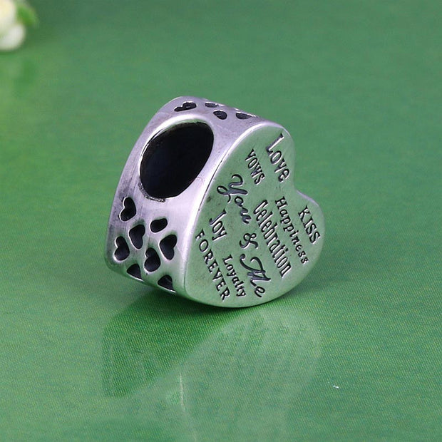 Authentic 925 Sterling Silver Bead Charm Openwork Celebration Love Heart Beads Fit Women Pandora Bracelet Bangle DIY Jewelry