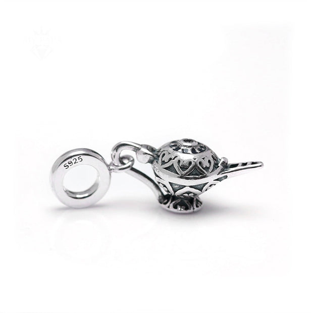 Authentic 925 Sterling Silver Bead Charm Vintage Aladdin Lamp With Crystal Pendant Bead Fit Pandora Bracelet DIY Jewelry