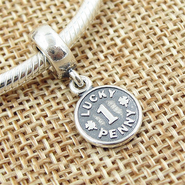 Authentic 925 Sterling Silver Bead Charm Vintage Lucky Penny Pendant Beads Fit Women Pandora Bracelet Bangle Diy Jewelry