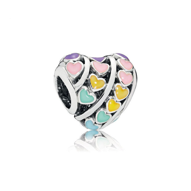 Authentic 925 Sterling Silver Bead Multi-Colour Hearts Charm Fit Original Women Pandora Bracelet Bangle Gift DIY Jewelry Making