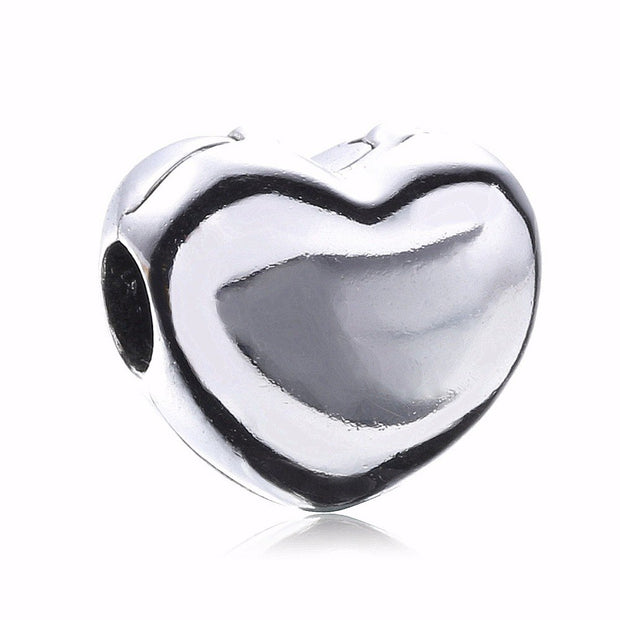 Authentic 925 Sterling Silver Big Smooth Heart Steady Heart Charm Clip Bead Fit European Bracelet Women Jewelry