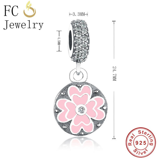 Authentic 925 Sterling Silver Charm Pink Primrose Flower Pendant Charms Enamel Flower Bead Fit Original Pandora Charms Bracelets
