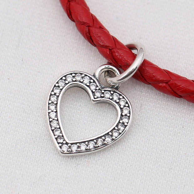 Authentic 925 Sterling Silver DIY Jewelry Pave Heart Dangle Charm Fit Pandora Bracelet Bangle Girl Gift Bead Pendant