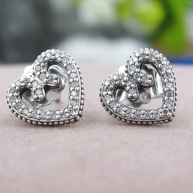 Authentic 925 Sterling Silver Earring Heart Swirls With Crystal Studs Earrings For Women Wedding Party Gift Fine Pandora Jewelry