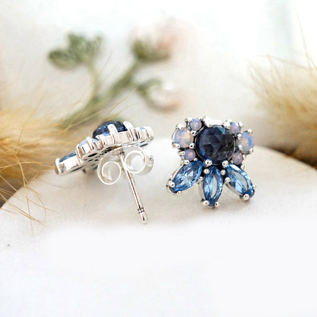 70efb72f8 Authentic 925 Sterling Silver Earring Patterns Of Frost With Crystal Studs  Earrings For Women Wedding Gift