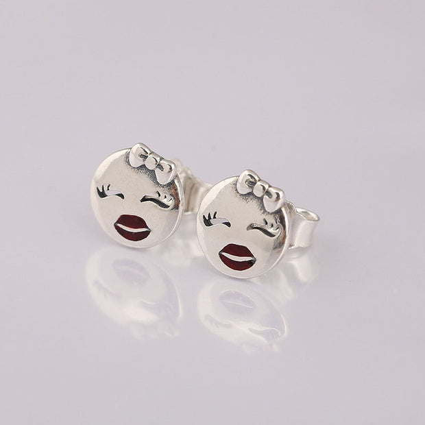 Authentic 925 Sterling Silver Earring Playful Wink With Red Enamel Stud Earrings For Women Wedding Gift Fine Diy Jewelry