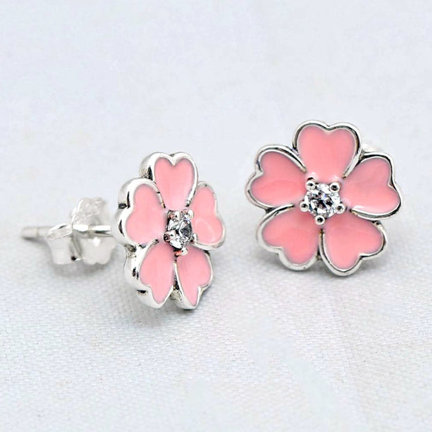 Authentic 925 Sterling Silver Earring White Primrose With Crystal Studs Earrings For Women Wedding Gift Diy Jewelry
