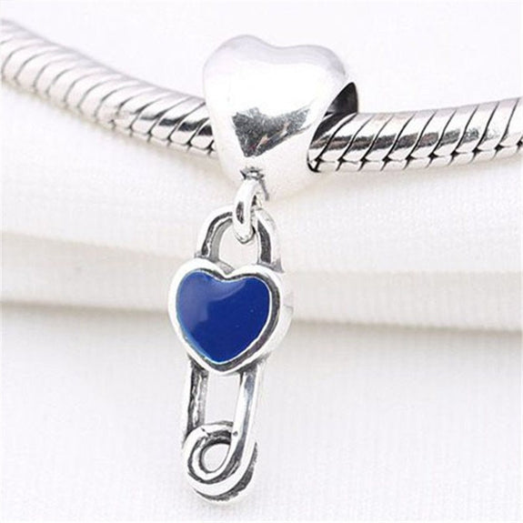 779c10138 Authentic 925 Sterling Silver Pendant Bead Delicate Heart Pin Hanging Charm  Fit Pandora Bracelets Bangles Women DIY Jewelry Gift