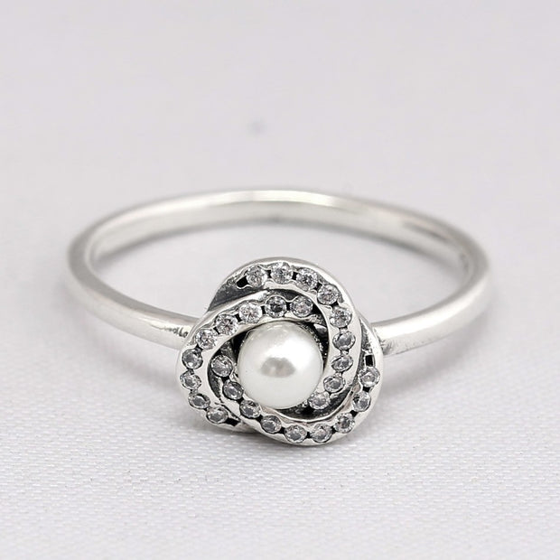 5d8b4e1b7 Authentic 925 Sterling Silver Ring Luminous Love Knot Ring With Pearl And  Crystal For Women Wedding