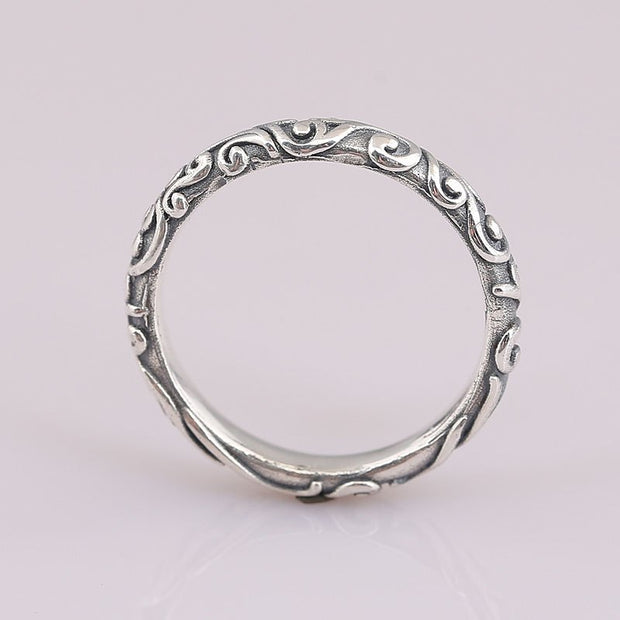Authentic 925 Sterling Silver Ring Regal Pattern Swirling