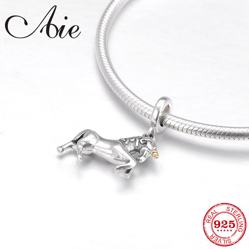Unicorn Charm Pendant Genuine 925 Sterling Silver Animal Horse Dangle Bead...