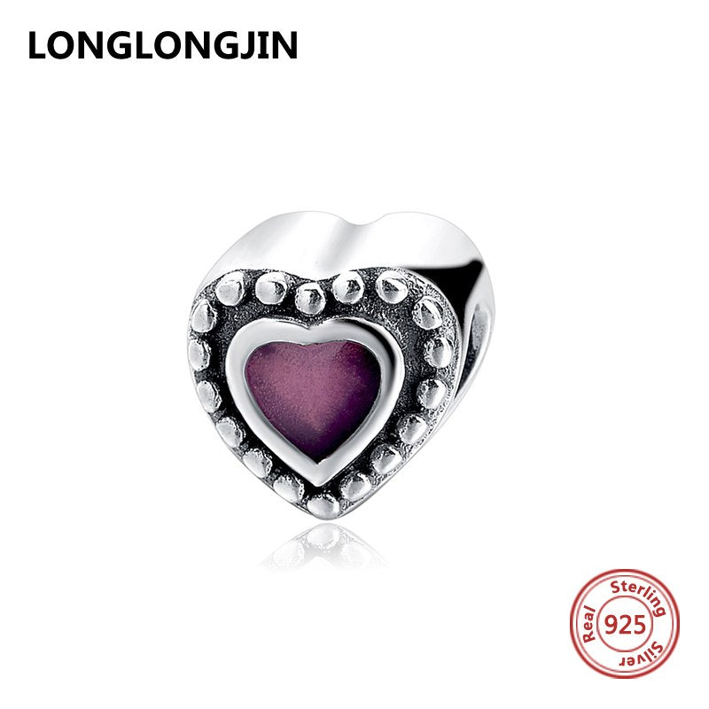 0ff1cc2dc Authentic Real 925 Sterling Silver Bead Purple Enamel Love Heart Charm Fit  Original Pandora Bracelet For Women DIY Fine Jewelry