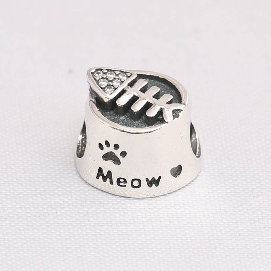 0d4eb49e2 Authentic S925 Silver DIY Jewelry Crystal Cat Bowl Charm Bead Fit Pandora  Bracelet Girl Lady Birthday Gift Clear CZ Meow