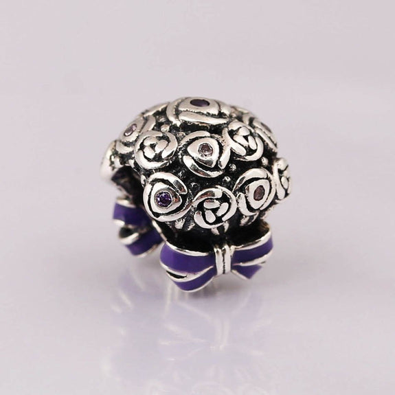 b05b15c3c Authentic S925 Sterling Silver DIY Jewelry Celebration Bouquet Charm Fit  Pandora Bracelet Bangle Lilac & Rose Pink Purple Enamel