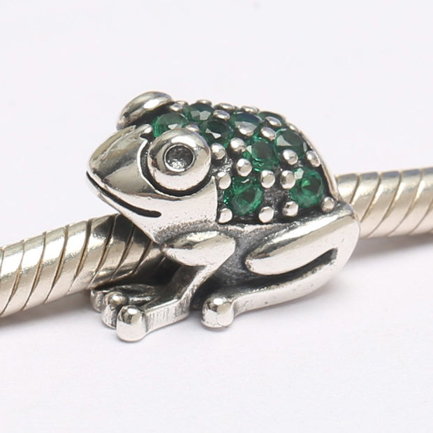 Authentic S925 Sterling Silver DIY Jewelry Cute Frog Charm Fit Pandora Bracelet Bangle Lady Gift Enamel Green CZ Bead