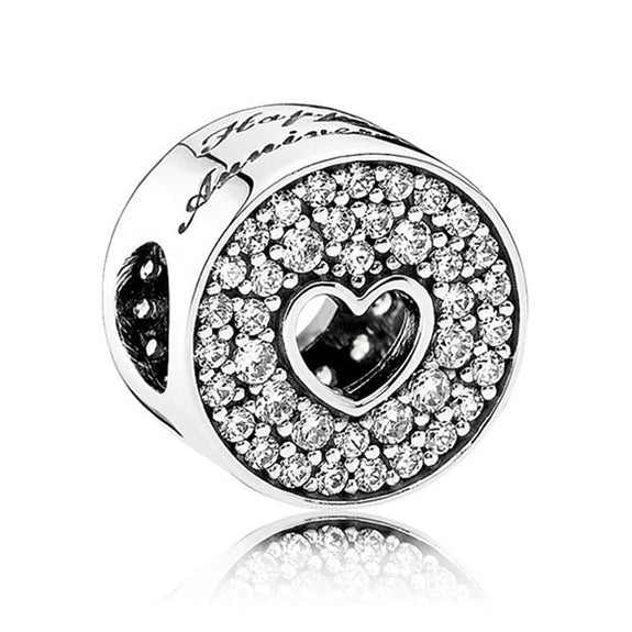376b7b202 Authentic S925 Sterling Silver DIY Jewelry Friendship Charm Fit Pandora  Bracelet Bangle Girl Gift Bead Pave Love Heart