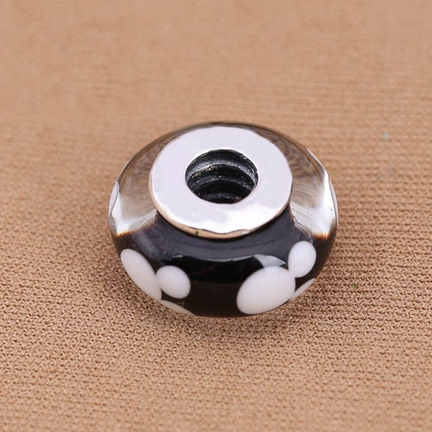 Authentic S925 Sterling Silver Signature Murano Glass Beads Fit Pandora Bracelet Bangle Black White Mickey Charm DIY Jewelry