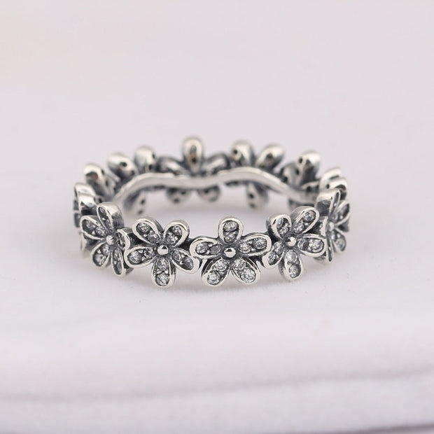 75997a529 Authentic S925 Sterling Silver Women Jewelry Lady Ring Girl Birthday Gift Dazzling  Daisy Meadow Stackable Ring