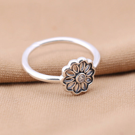 84d8a1ef4 Authentic S925 Sterling Silver Women Jewelry Lady Ring Girl Birthday Gift  Sparkling Floral Daisy Lace Ring Finger Anel