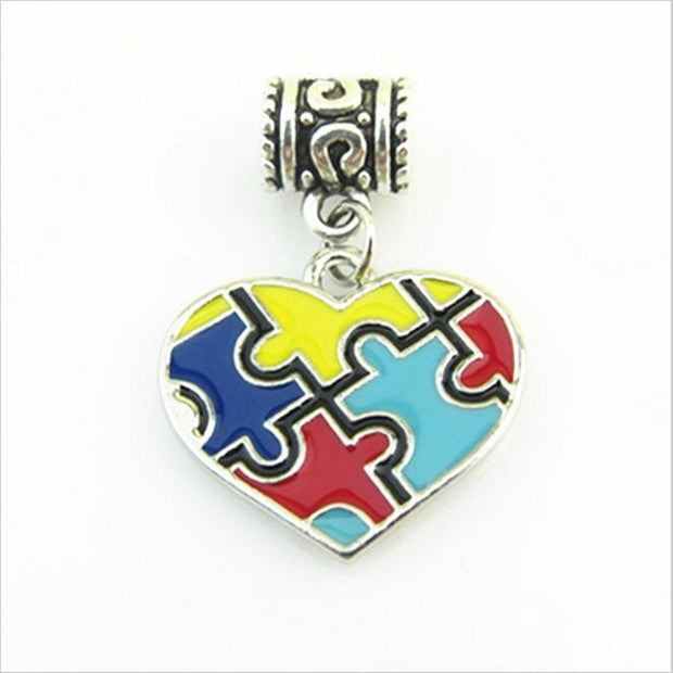 Autism Awareness Puzzle Piece Heart Dangle Charms For Lobster Clasp Hanging Charms Fit DIY Bracelet Necklace Jewelry 10pcs/lot