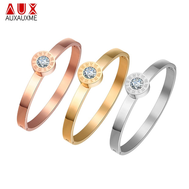 Auxauxme Interchangeable CZ Stone Jewelry Stainless Steel Roman Number Bangle&Bracelet For Women Famous Brand Charm Bangle