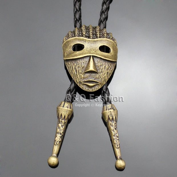 Aztec Antique Mexico Taxco Face Dreadlocks Warrior Mask Necktie Bolo Bola Vintage Gold & Silver 2 Colors Jewelry 2018 New