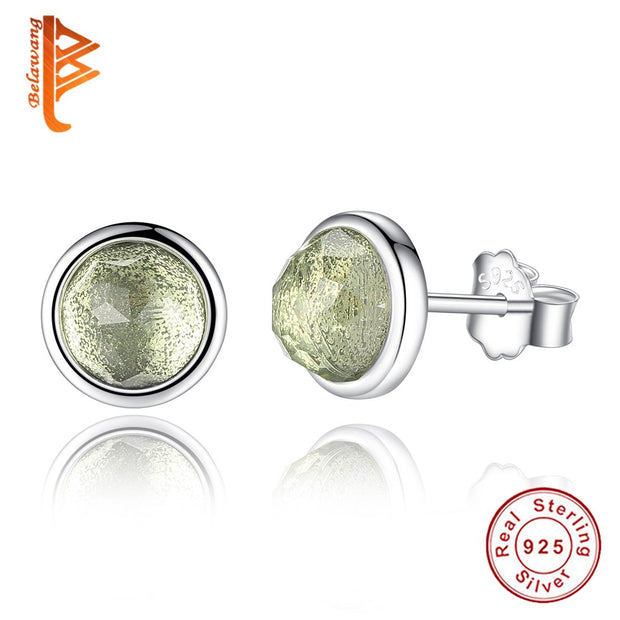 BELAWANG 100% 925 Sterling Silver August Droplet Birthstones Earrings For Women Silver Wedding Engagement Brincos Jewelry