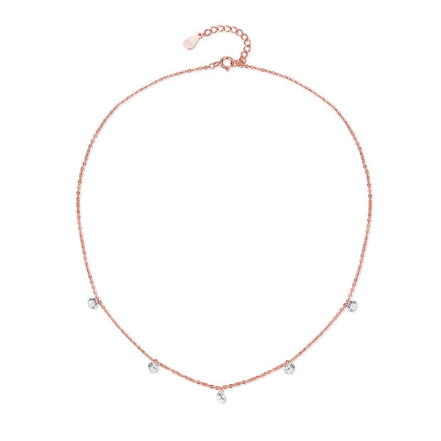 BELAWANG New Fashion 925 Sterling Silver Clear Crystal Pendants Necklace Rose Gold Pendant Necklace For Women Birthday Gift