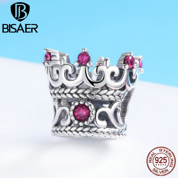 BISAER Hot Sale 925 Sterling Silver Heart Star Princess Crown Bowknot Dream Catcher Charms Beads Fit Silver 925 Jewelry Making