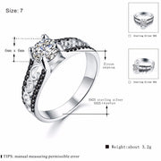 [BLACK AWN] 3.2g 925 Sterling Silver Fine Jewelry Trendy Engagement Rings For Women Wedding Ring Black Spinel Bague C065