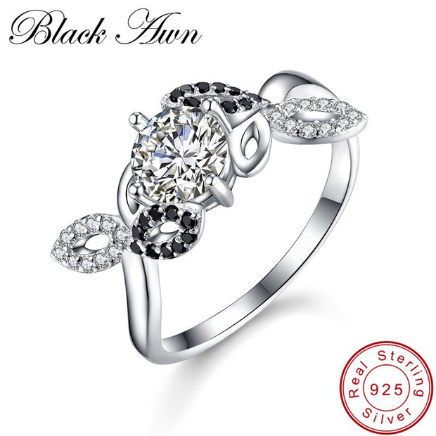 [BLACK AWN] 925 Sterling Silver Jewelry Trendy Wedding Rings For Women Engagement Ring Femme Bijoux Bague Size 6 7 8 C273