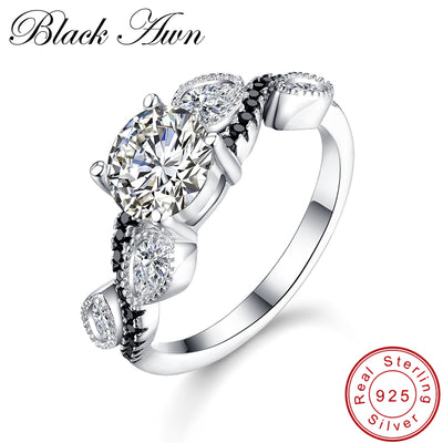 [BLACK AWN] 925 Sterling Silver Jewelry Trendy Wedding Rings For Women Engagement Ring Femme Bijoux Bague Size 6 7 8 C257