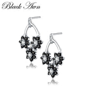 [BLACK AWN] Flower 1.7g Genuine 925 Sterling Silver Fine Jewelry Vintage Black Spinel Engagement Earrings For Women T074