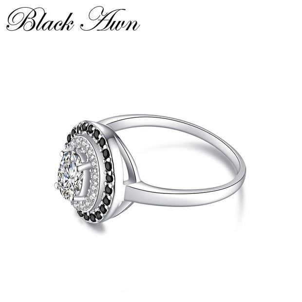 [BLACK AWN] Genuine 100% 925 Sterling Silver Jewelry Oval Engagement Rings For Women C286