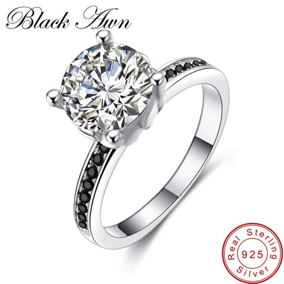 [BLACK AWN] Genuine 3.5g 925 Sterling Silver Jewelry Trendy Wedding Rings For Women Engagement Ring Femme Bijoux Bague C073