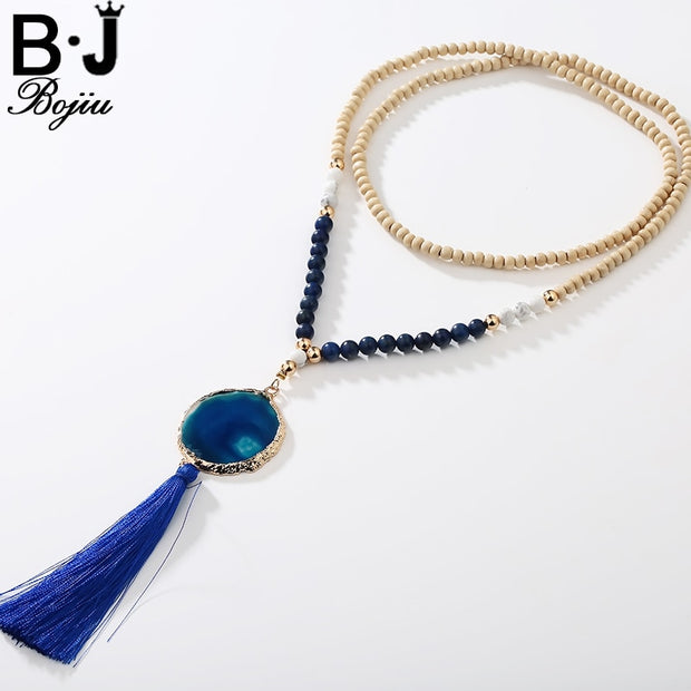 BOJIU Chain Of Women Tassels Long Necklace New Trendy Druzy Natural Stone Pendant Fringed Bohemia Woman Beaded Necklace