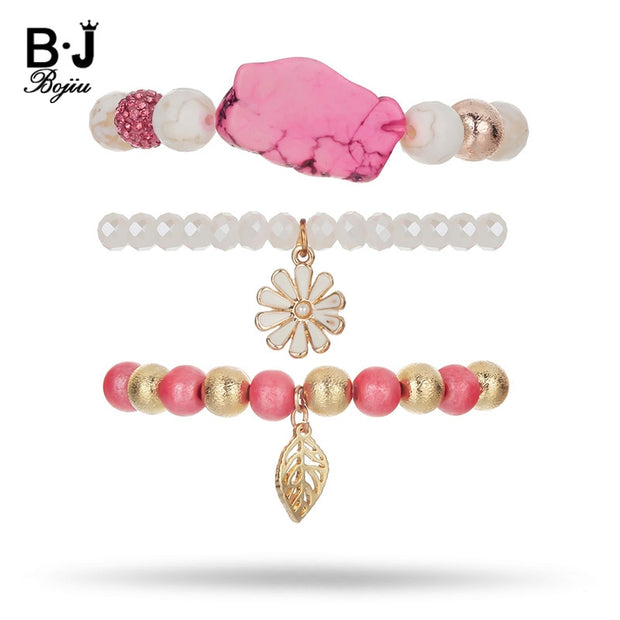 BOJIU Round Beads Bracelet Sets For Women Gold Plant Pendant Crystal Bracelet Femme Natural Stone Bracelet In Jewelry BCSET61
