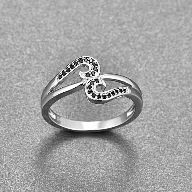 BONLAVIE Originality 925 Sterling Silver Black Color Zircon Ring Musical Note Finger Jewelry For Women Party Wedding Ring Bijoux