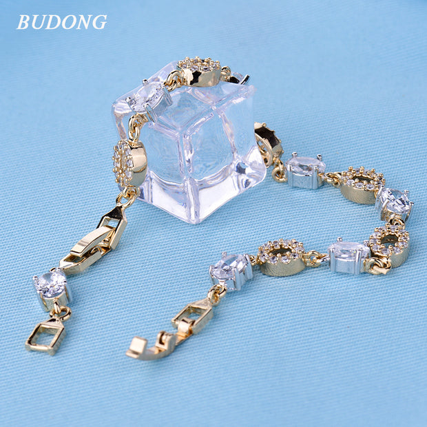 BUDONG Infinity Link Chain Bracelet Women Summer Style Austrian Oval Crystal Silver/Gold-Color Bangle Wedding Bride Jewelry