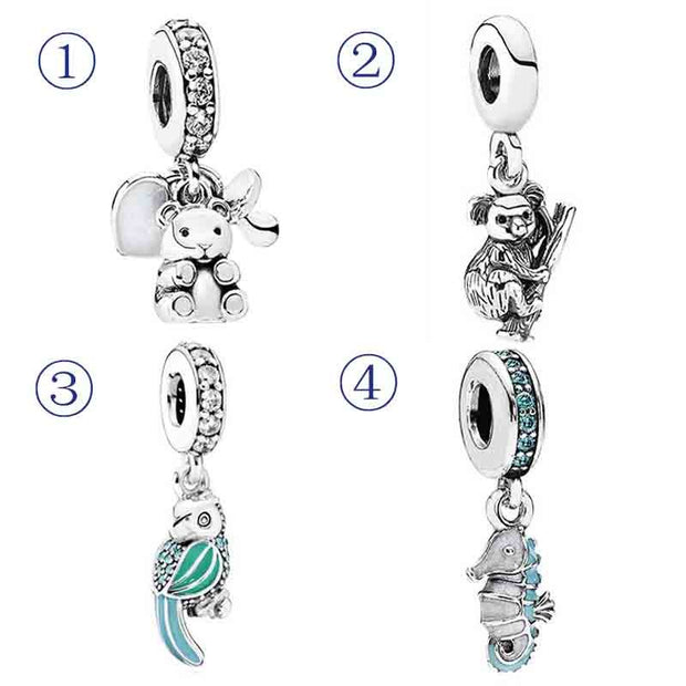 Baby Treasures & A Pacifier Tropical Seahorse Koala Animal Pendant Charm Fit Pandora Bracelet 925 Sterling Silver Bead Jewelry