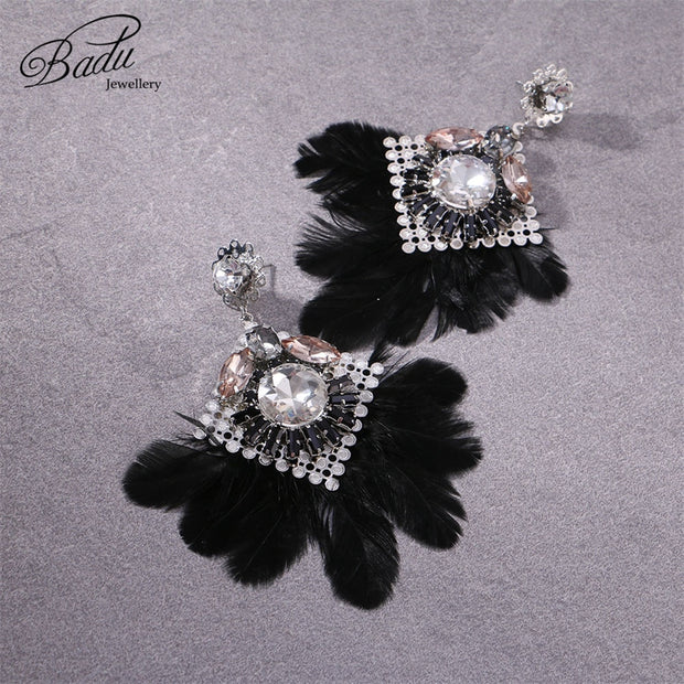 Badu White Feather Earrings For Women Vintage Bohemian Style Autumn Winter Dangle Earring Large Statement Jewelry Wholesale